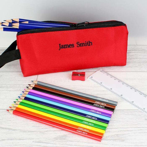 Pencil Case with Personalised Pencils & Crayons