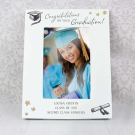 Personalised 4 x 6 Wooden Photo Frame Gold Star Graduation