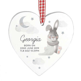 Personalised Baby Bunny Wooden Heart Decoration
