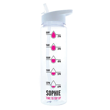 Personalised Black or Pink 'Hydration Tracker' Island Water Bottle