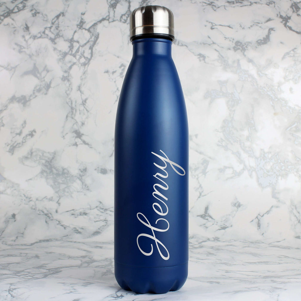 Personalised Blue Metal Insulated Drinks Bottle