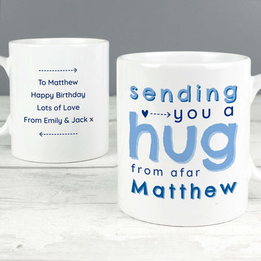 Personalised Blue/Pink Hug From Afar Mug