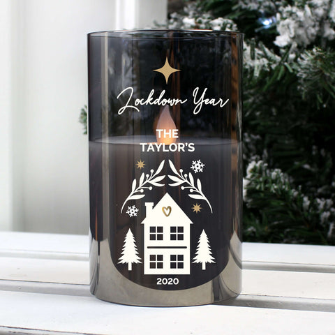Personalised Christmas Smoked Glass LED Candle