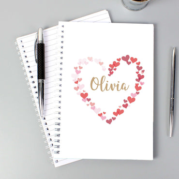 Personalised Confetti Hearts A5 Notebook