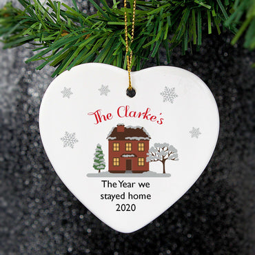Personalised Cosy Christmas Ceramic Heart Decoration