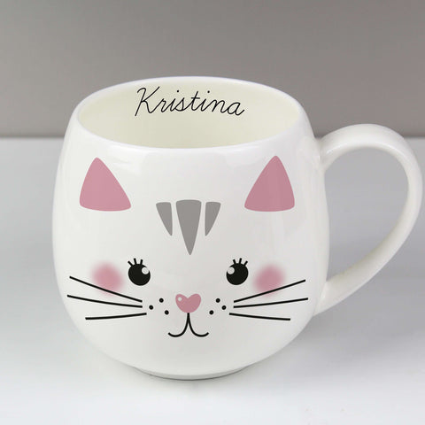 Personalised Cute Cat Shape Mug