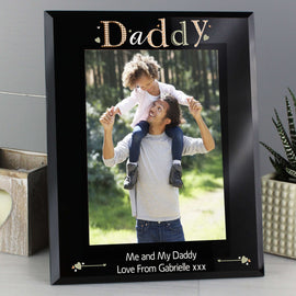 Personalised Daddy Black Glass 5x7 Photo Frame