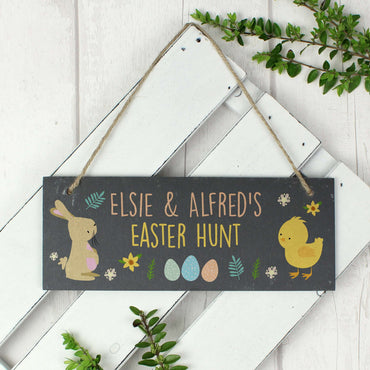 Personalised Easter Bunny & Chick Slate Door Plaque