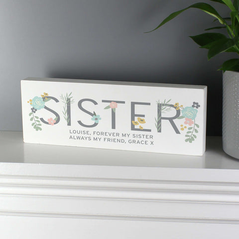 Personalised Floral Sister Wooden Block Sign
