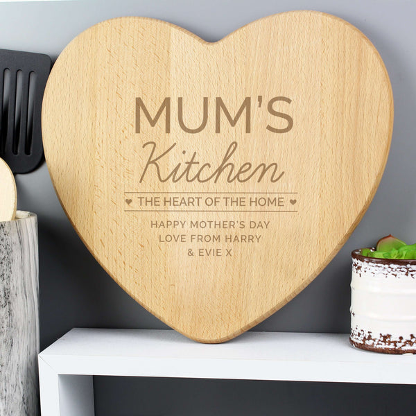 Personalised 'Heart of The Home' Wooden Chopping board