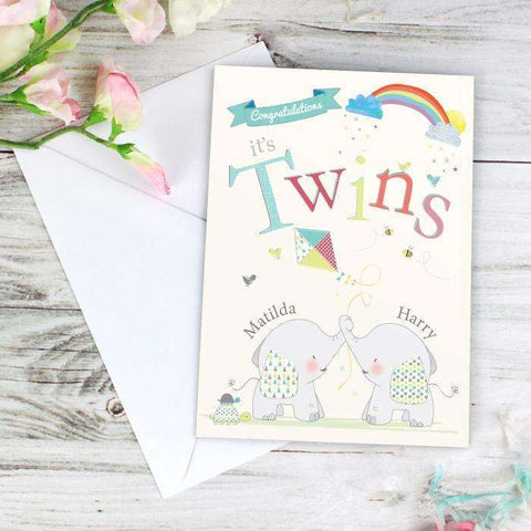 Personalised Hessian Elephant Twins Card