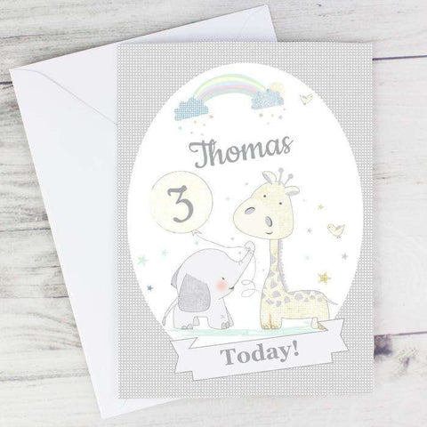 Personalised Hessian Giraffe & Elephant Card