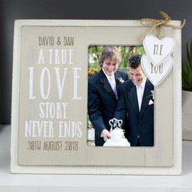 Personalised Love Story 4 x 6 Wooden Photo Frame