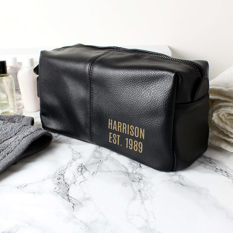 Personalised Luxury Brown or Black leatherette Wash Bag