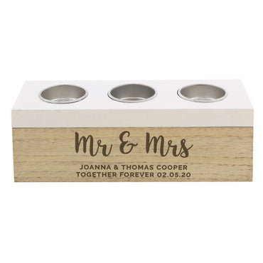 Personalised Married Couple Triple Tea Light Box