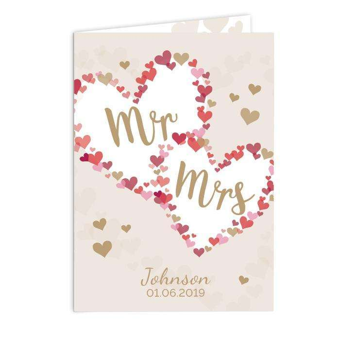 Personalised Mr & Mrs Confetti Hearts Wedding Card