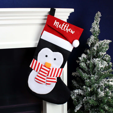 Personalised Name Only Penguin Christmas Stocking