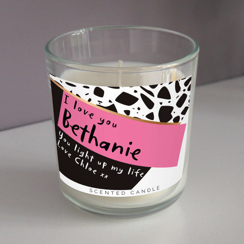 Personalised Pink & Black Scented Jar Candle