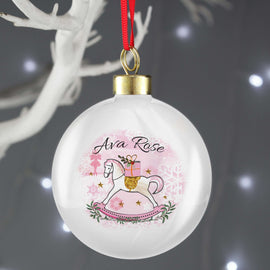 Personalised Pink/Blue Rocking Horse Bauble
