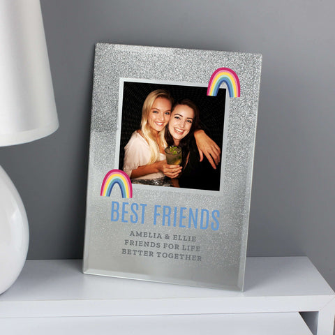 Personalised Rainbow 4x4 Glitter Glass Photo Frame
