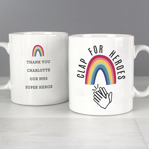 Personalised Rainbow 'Clap for Heroes' Mug