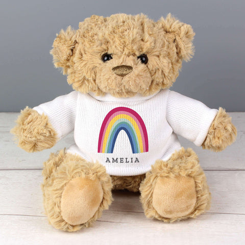 Personalised Rainbow Teddy Bear