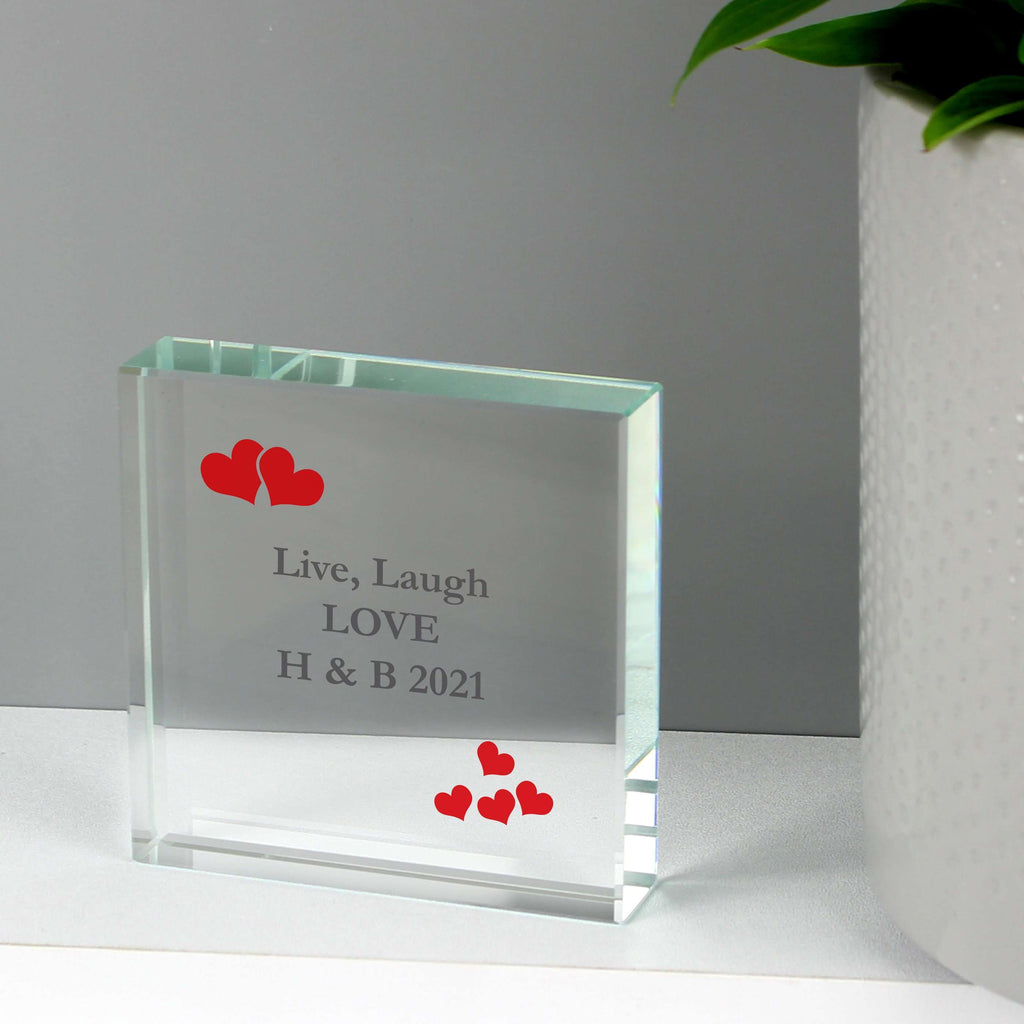 Personalised Red Hearts Large Crystal Token