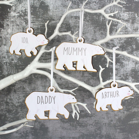 Personalised Set of Four Polar Bear Family Wooden Hanging Decorations