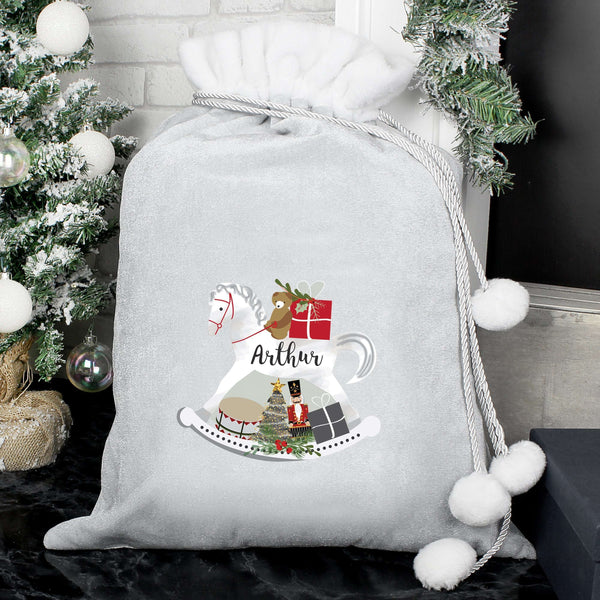 Personalised Swan Lake Luxury Silver Pom Pom Sack