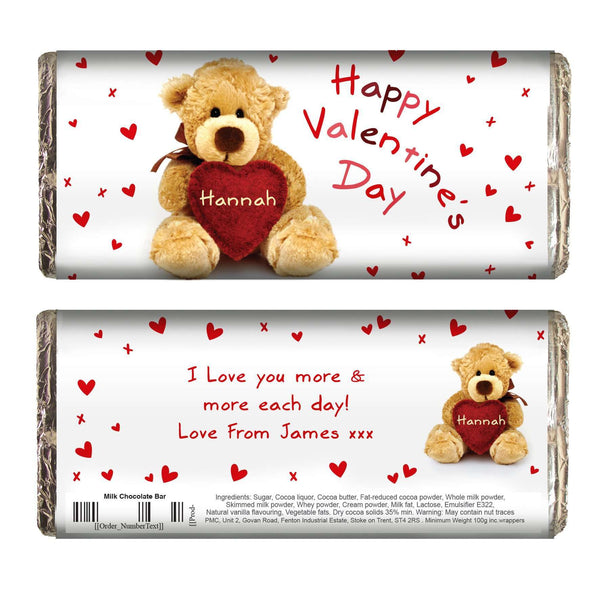 Personalised Teddy Heart Milk Chocolate Bar