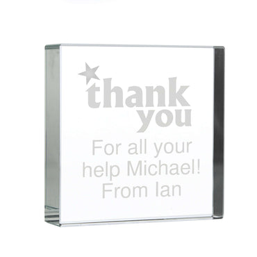 Personalised Thank you Large Crystal Token