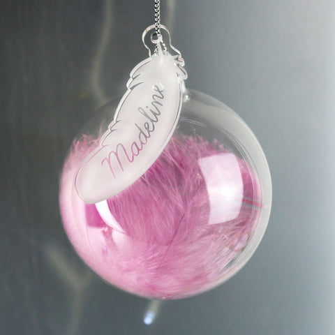 Personalised White, Pink or Blue Feather Glass Bauble