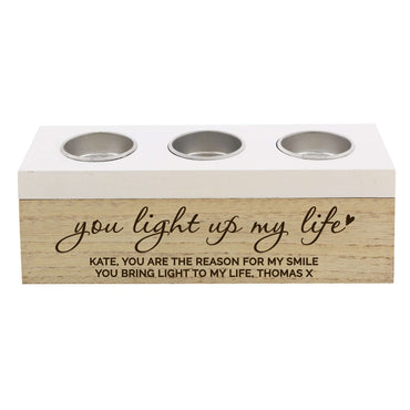 Personalised You Light Up My Life Triple Tea Light Box