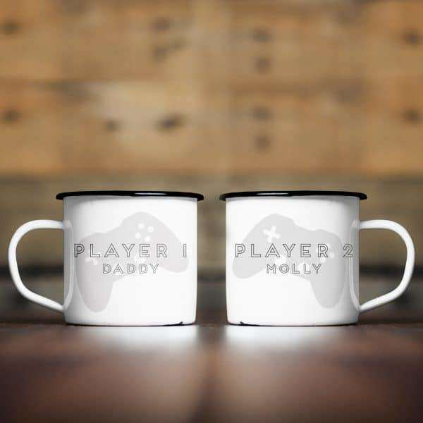 Player 1 & 2 Enamel Mug Set