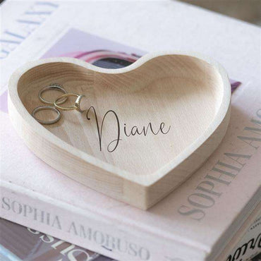 Script Name Heart Wooden Trinket Box
