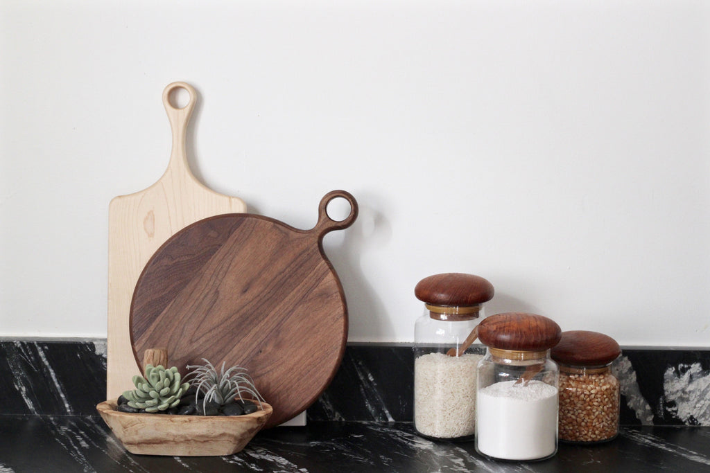 Round Walnut Serving and Prep Board