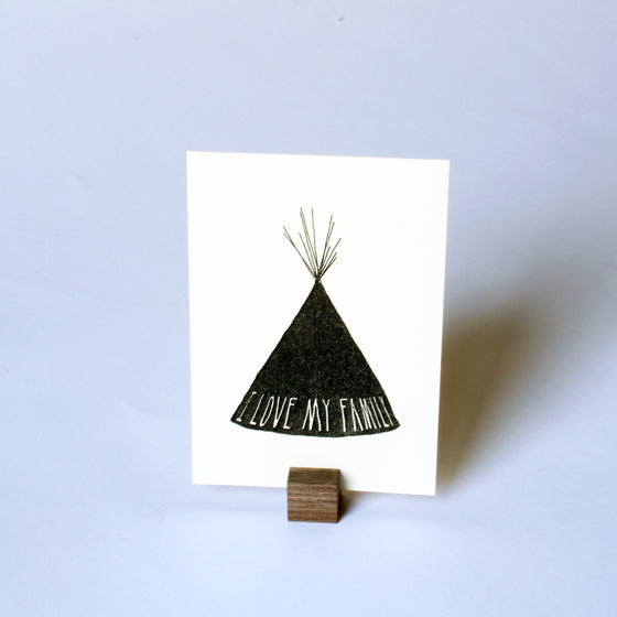 'I Love My Family' print with wood stand