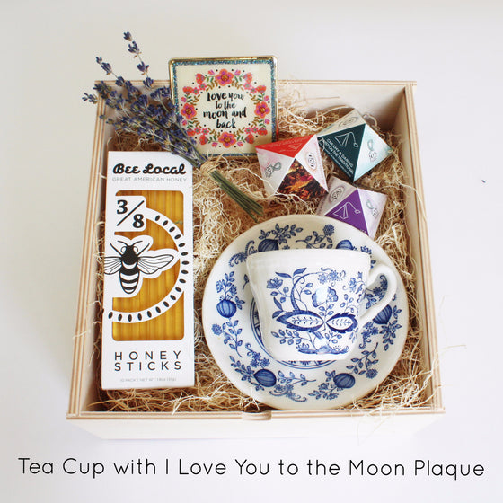 Limited Edition Tea Set with Vintage Tea Cup (Blue Boho)