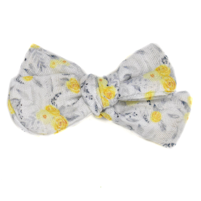 Yellow Floral Gauze Large Hand-Tied