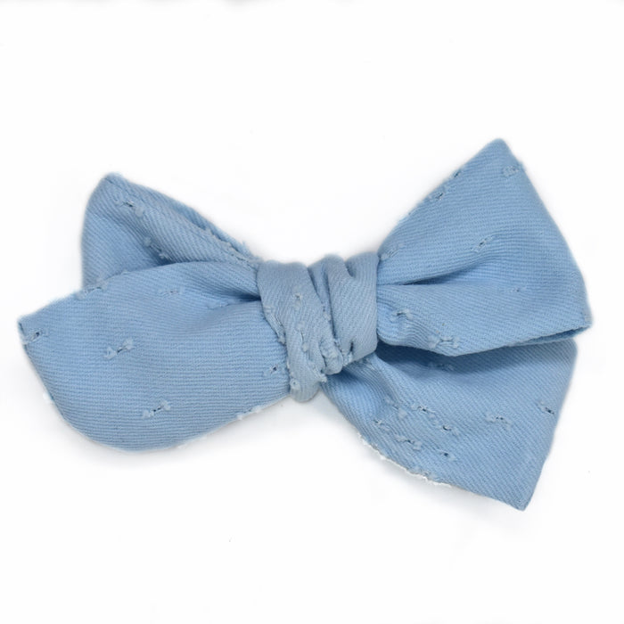 Sweet Blue Distressed Large Hand-Tied