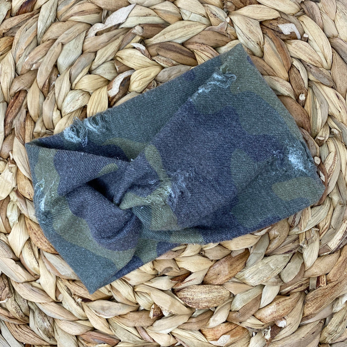 Distressed Camo Mama Headwrap