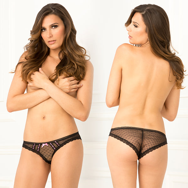 Crotchless Jacquard Mesh and Lace Panties