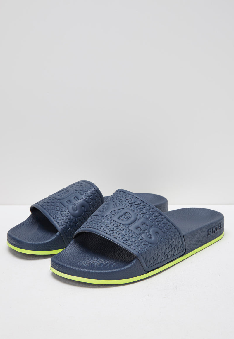 Slydes - Arva Men's Navy/Lime Sliders - The Worlds Best Sliders & Sandals