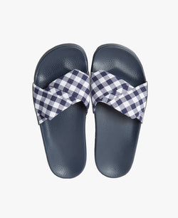 Dessa Twist Fabric Gingham Women's Slider Sandals - Slydes