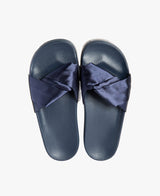 Dessa Twist Fabric Navy Women's Slider Sandals - Slydes