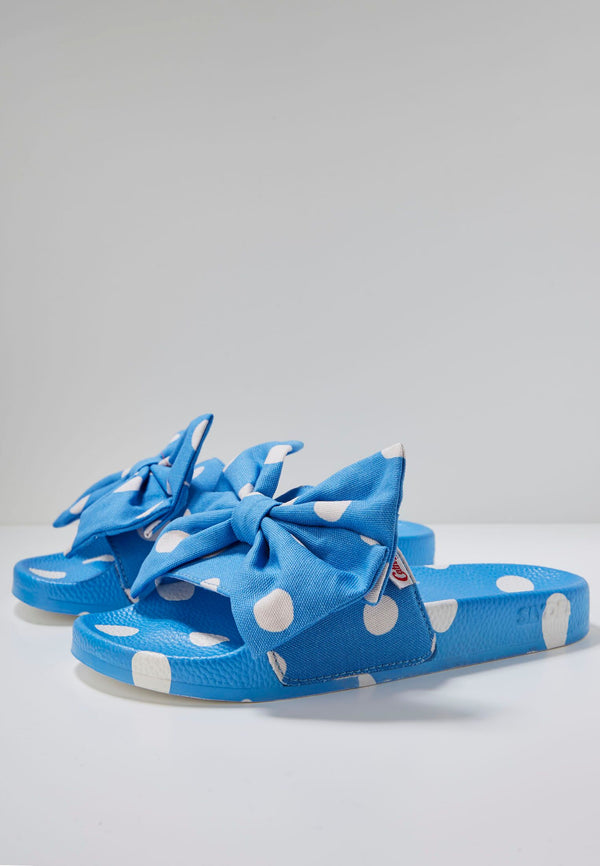 Slydes - Cath Kidston x Slydes Women's Blue Button Spot Sliders - The Worlds Best Sliders & Sandals