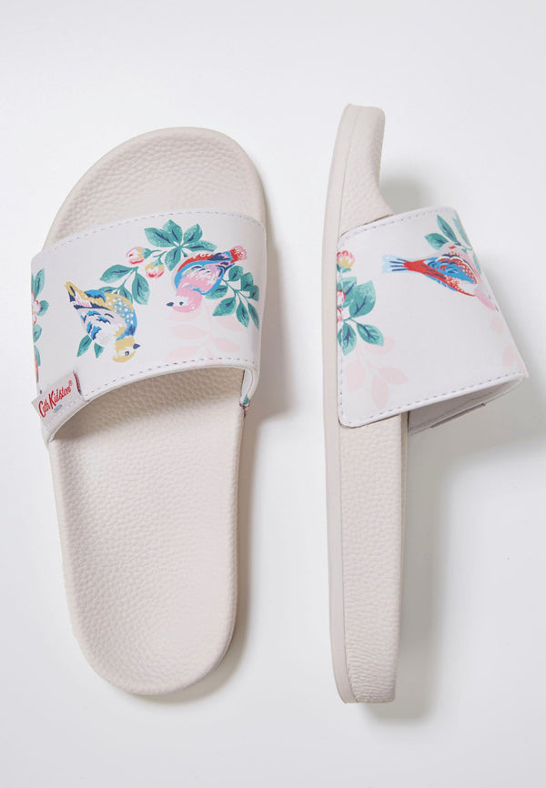 Slydes - Cath Kidston x Slydes Women's Cream Birds Sliders - The Worlds Best Sliders & Sandals