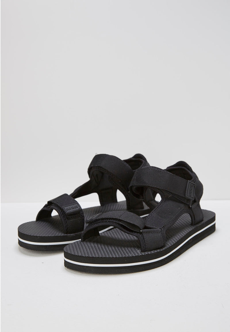 Slydes - Nevis Women's Black/White Sandals - The Worlds Best Sliders & Sandals