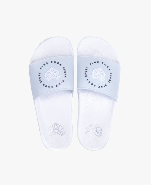 Pink Soda Ade White/Blue Slider Sandals - Slydes