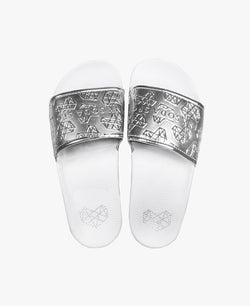 Pink Soda Pop White/Silver Slider Sandals - Slydes